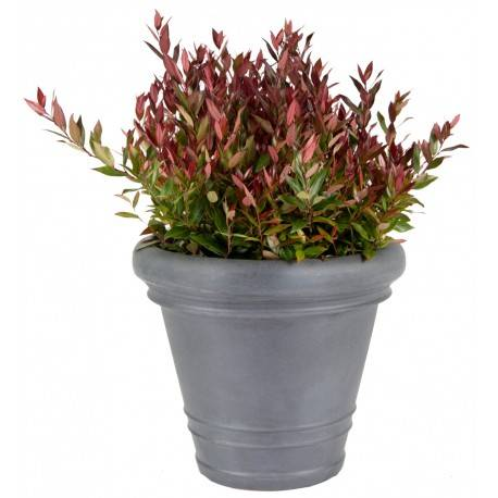 Mega Collections Bac à plantes en plastique rotomoulé Rinca Rolled Rim gris clair D.50xH.44cm - MegaCollections
