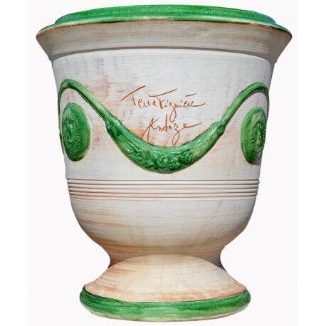 Terre Figuière Vase d'Anduze terre cuite Cérusé vert Terre Figuière