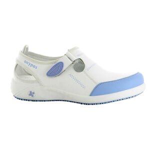 Oxypas Sabot médical en cuir Lilia Oxypas blanc et bleu - Publicité