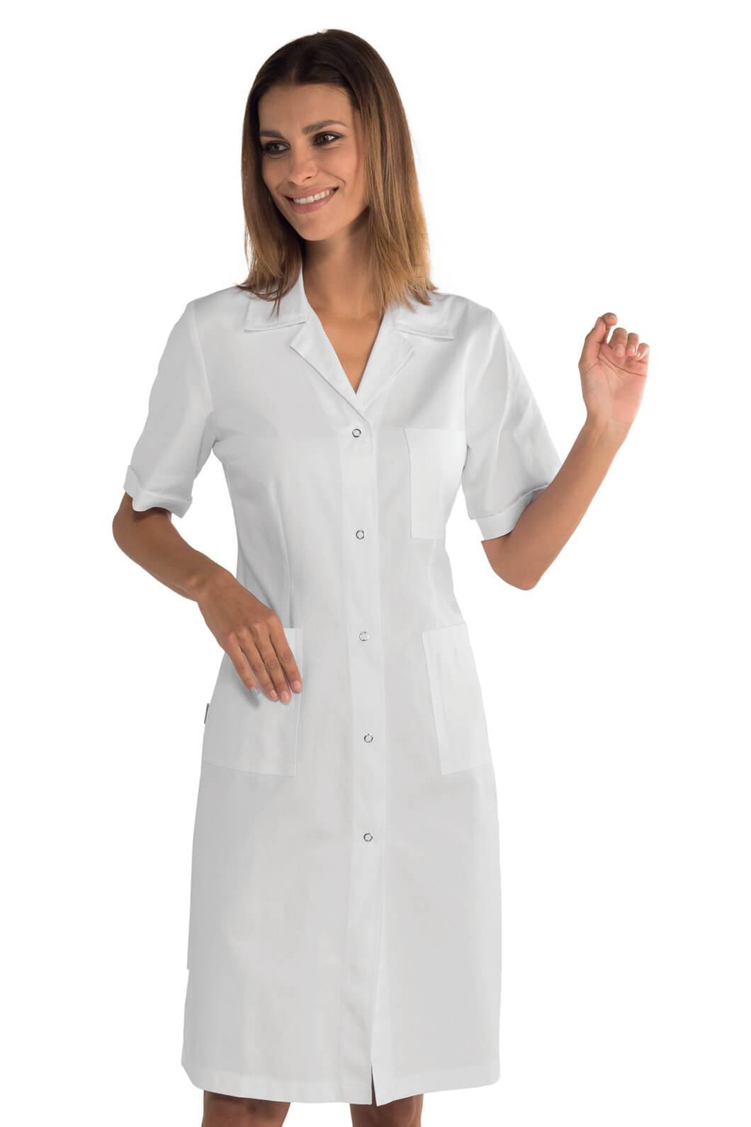 ISACCO Blouse blanche médicale boutons pression 100% coton