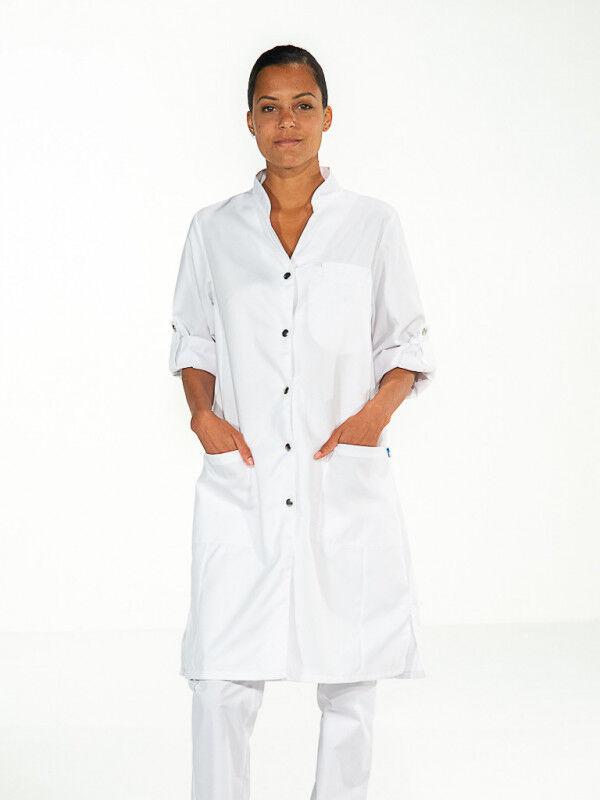 Mylookpro Blouse médicale blanche manches longues réglables SARAH