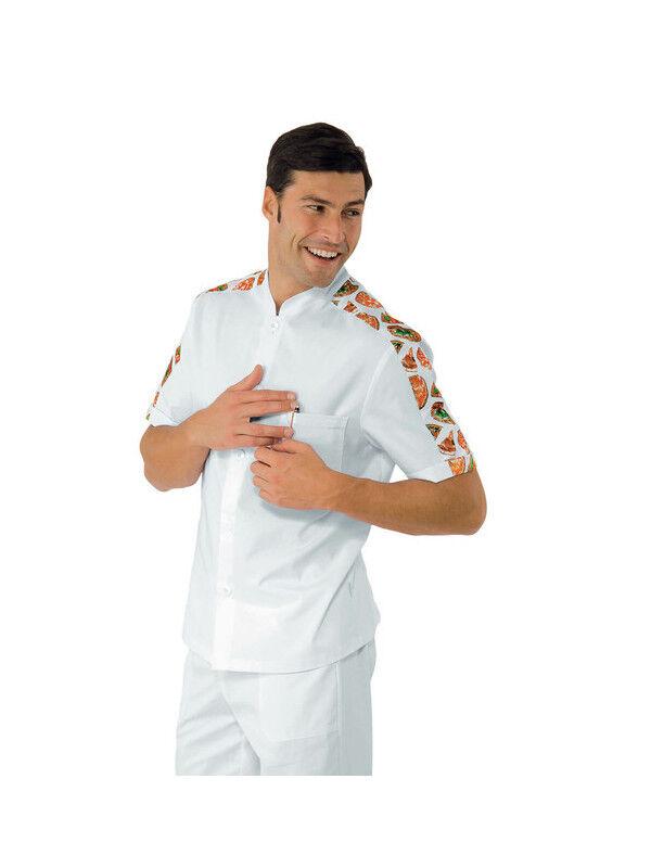 ISACCO Tunique de travail Homme manche courte blanc pizza