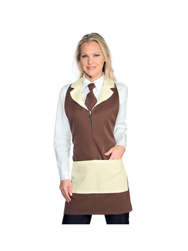 ISACCO Tablier de service pour femme Madeira Avec Zip Cacao Crème