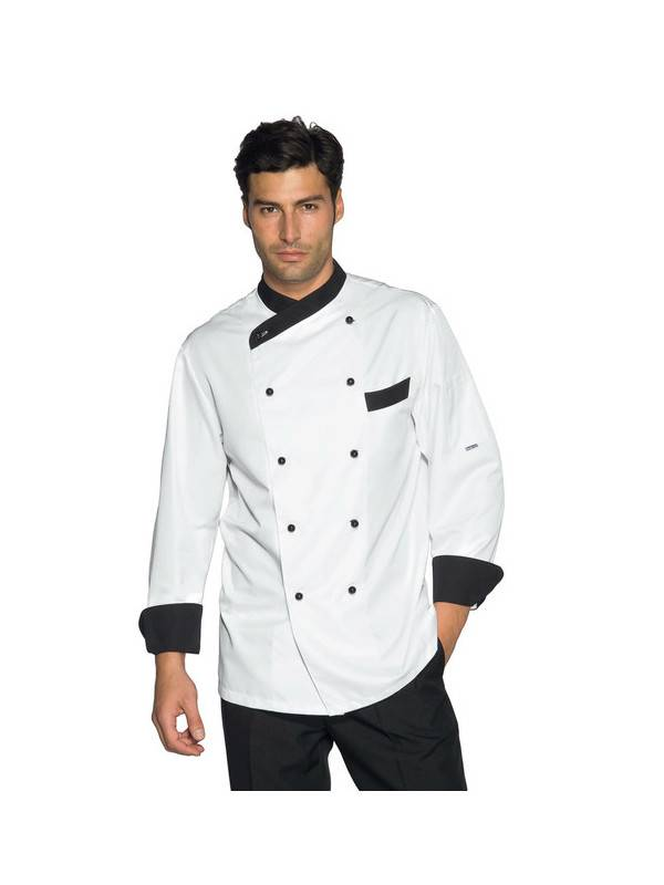 ISACCO Veste Cuisine Giza blanc et noir traitement anti taches
