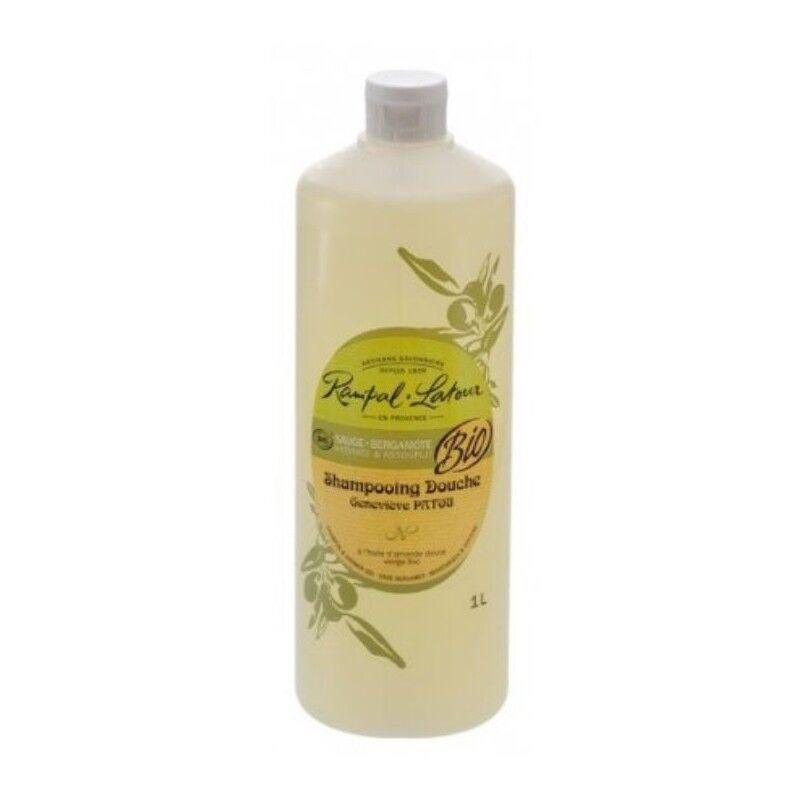 Purasana Shampoing cheveux et douche bio sauge et bergamote pour toute la famille 1 litre