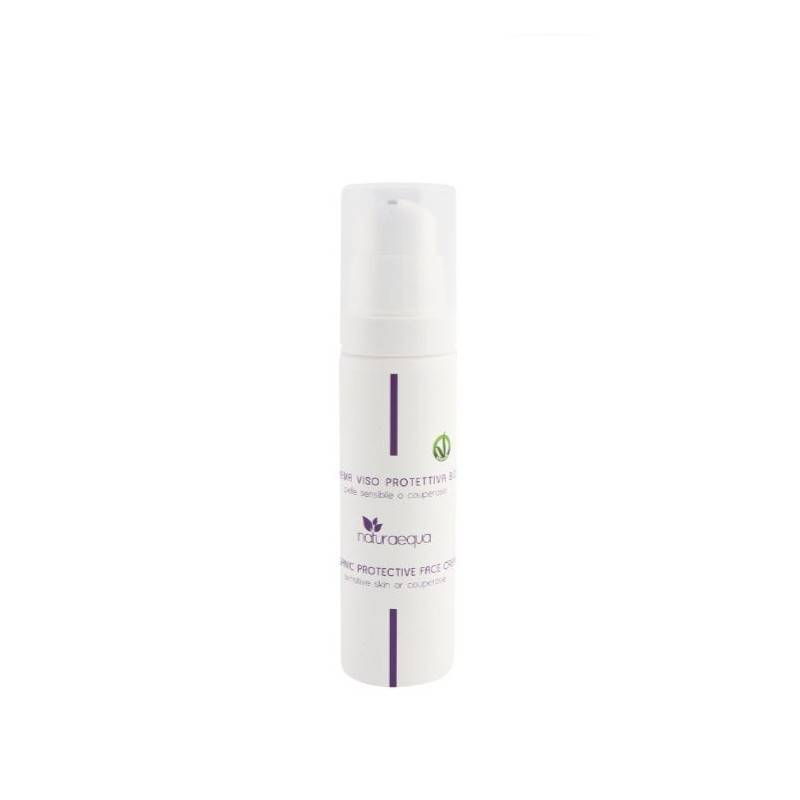 Naturaequa Crème visage protectrice au beurre karité, à l'huile de pépins raisins et acide hyaluronique 50 ml