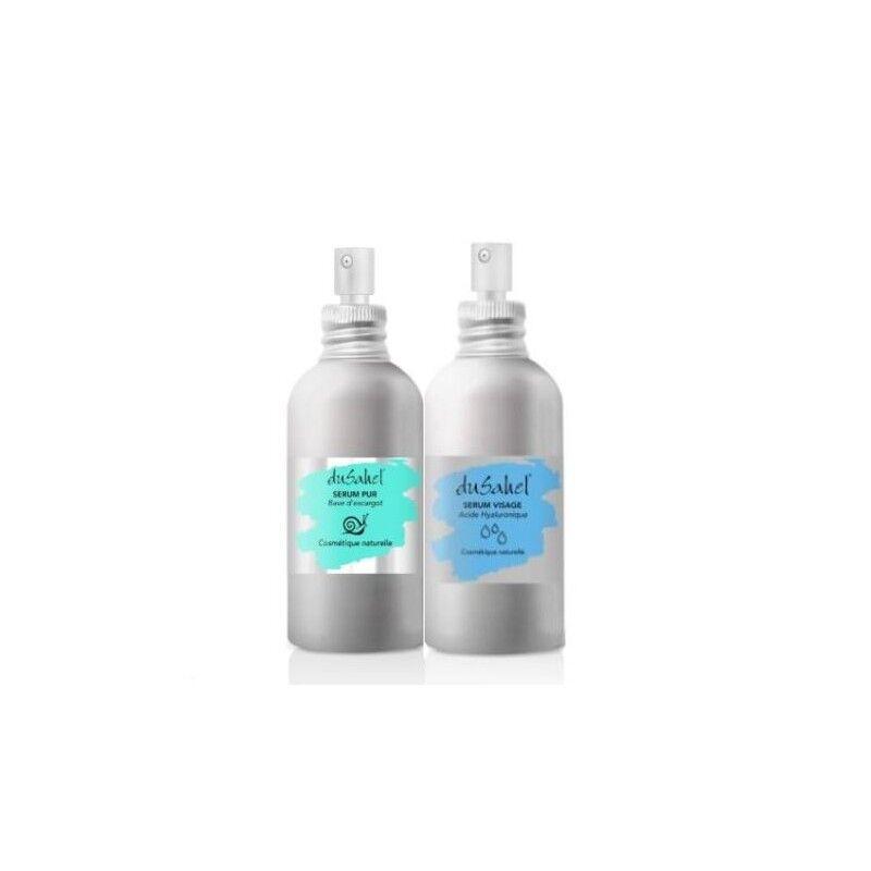 Dusahel duo anti âge & hydratation intense : 1 sérum 100 % bave d'escargot bio + 1 sérum acide hyaluronique