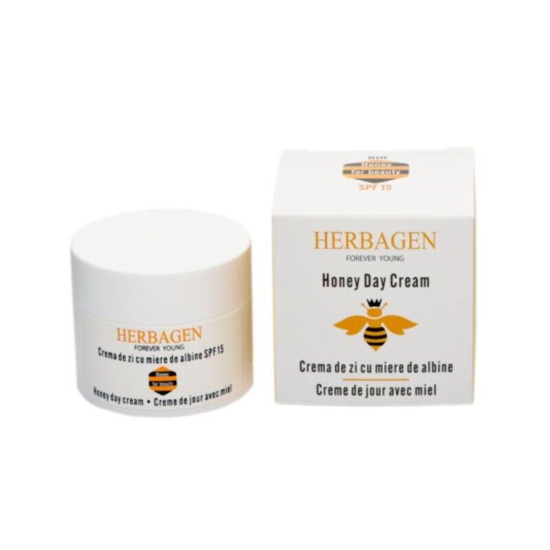 Herbagen crème de jour hydratante et protection solaire SPF 15 à base de miel bio 50 gr