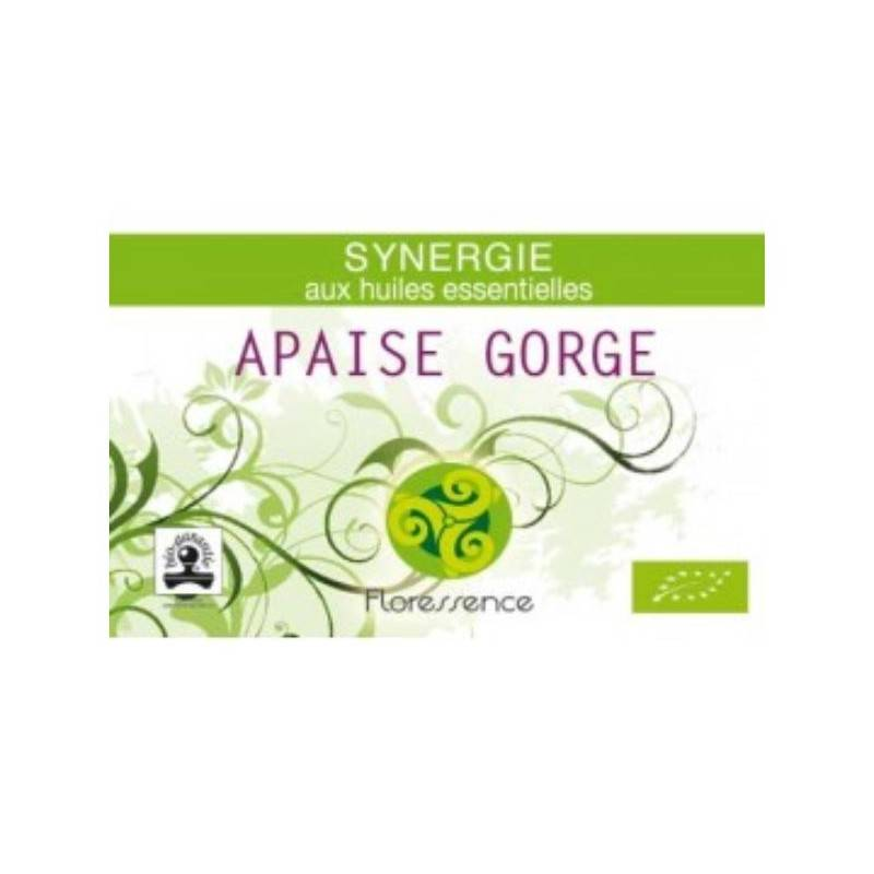 Floressence Synergies Synergie huiles essentielles apaise gorge, maux de gorge & angine 100% pure, naturelle et bio