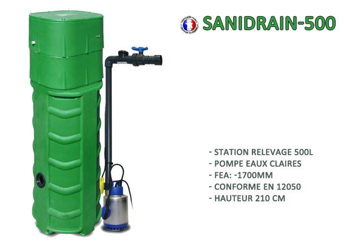 SANIREL Station Relevage SANIDRAIN-500 Eaux Claires Fil d'eau très profond