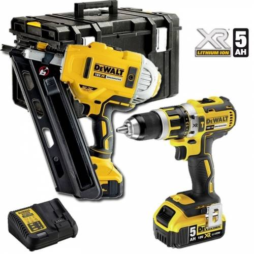 DEWALT CLOUEUR CHARPENTE DCN692 + DCD797 PERCEUSE PERCUSSION 18V 5Ah