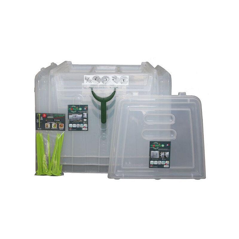 Pouss'Vert Kit 3 serres tunnel de culture rigide modul'o 60 + 2 embouts + 10 piquets