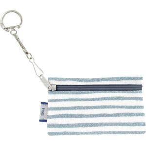 Papa Pique et Maman Coud Pochette porte-clés - Rayé bleu blanc