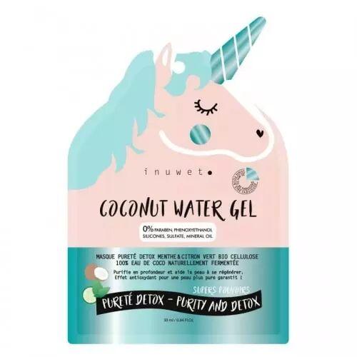 Inuwet COCONUT WATER GEL Masque Visage Pureté Detox Menthe & Citron Vert Bio Cellulose Eau de coco
