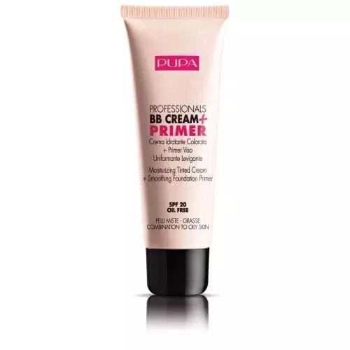 Pupa BB CRÈME + PRIMER Crème hydratante teintée + primer visage unifiant lissant pour peaux mixtes et grasses 001 NUDE