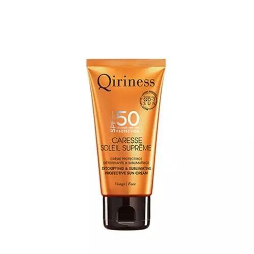 Qiriness Caresse Soleil Suprême Visage SPF50 Crème Protectrice Détoxifiante & Sublimatrice SPF50