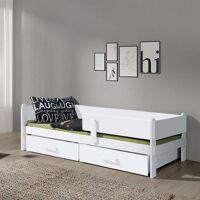Petite Chambre Lit junior Leila avec tiroirs et barrière   Blanc   90 cm x 190 cm   Bois massif   petitechambre.fr <br /><b>420.00 EUR</b> Petite Chambre