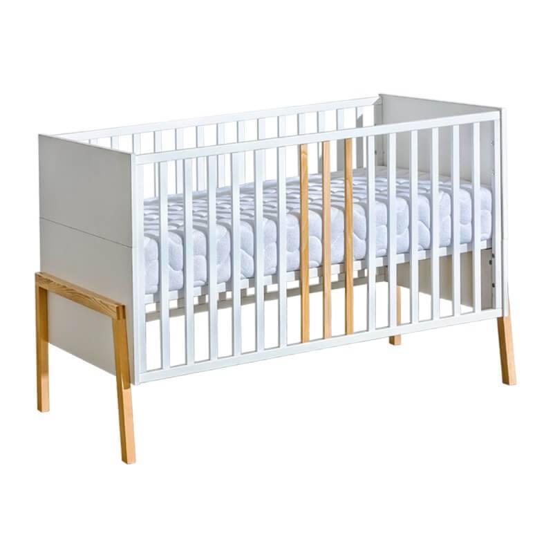 Petite Chambre Lit bébé 140x70 YETI blanc et bois   70 cm x 140 cm   Blanc   Panneaux Stratifiés   petitechambre.fr