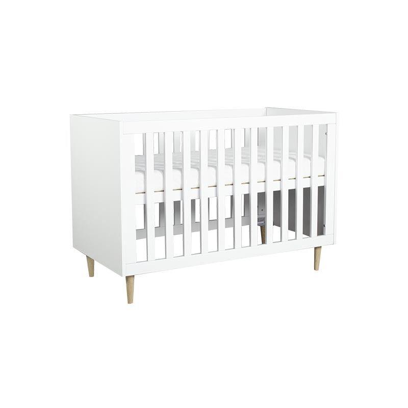 Lit bébé blanc et bois SCANDI - H86 cm L124,6 cm l65,4 cm