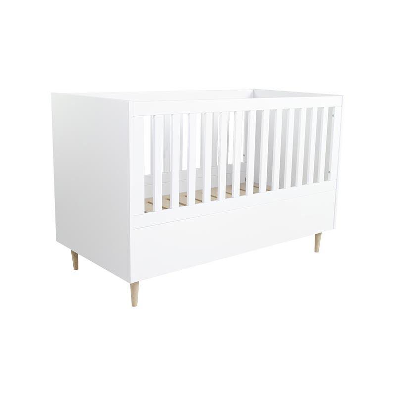 Lit bébé 3 en 1 SCANDI 140x70 - Blanc - H94,5 cm L144,3 cm l75,5 cm