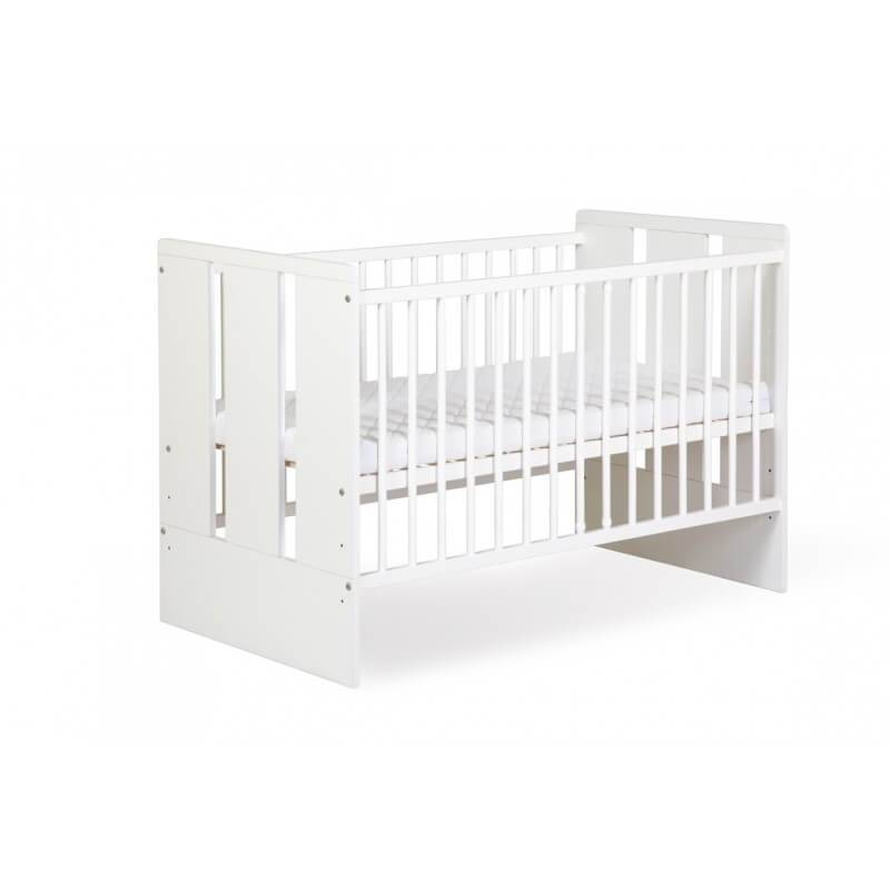 Petite Chambre Lit bébé blanc 120cm Paule   60 cm x 120 cm   Blanc   Bois massif   petitechambre.fr