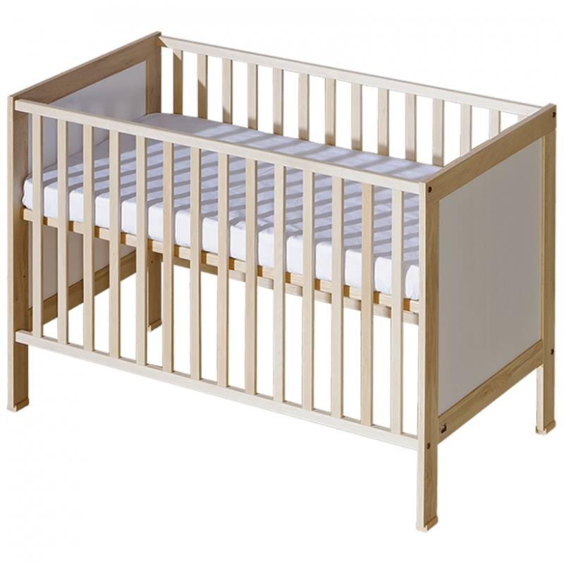 Lit bébé à barreaux Mélodie - Bouleau - H87 cm L125.5 cm l65.5 cm