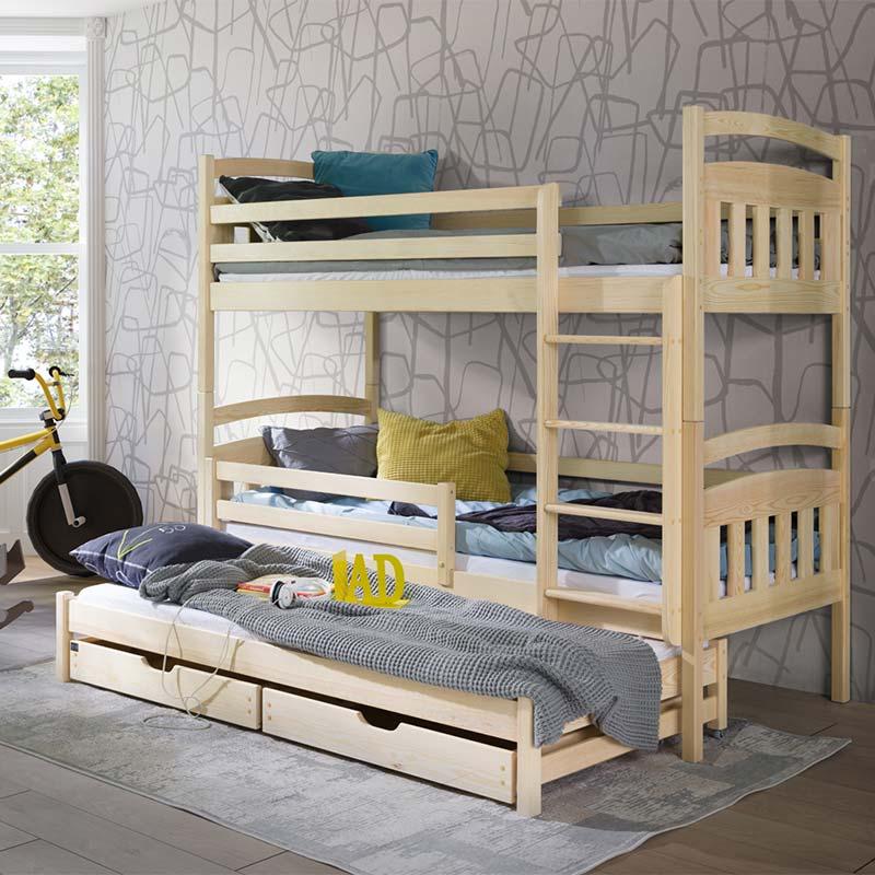 Petite Chambre Lit superposé 3 couchages ALAN personnalisé   Pin   90 cm x 190 cm   Bois massif   petitechambre.fr