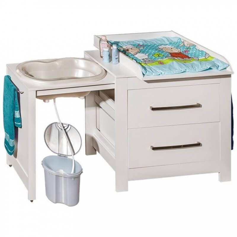 Petite Chambre Commode de bain avec plan à langer   Blanc   Panneaux Stratifiés   petitechambre.fr