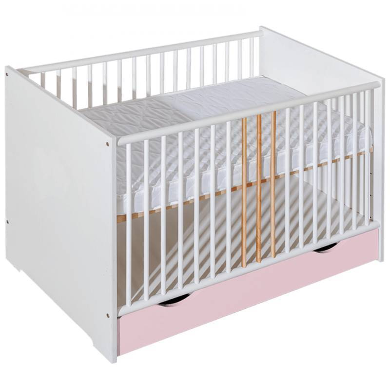 Lit bébé Chloé personnalisable - Rose - H85 cm L124 cm l66,5 cm