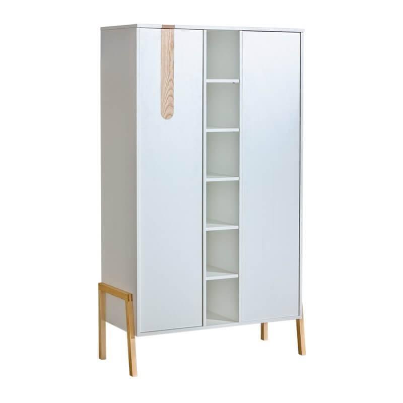 Petite Chambre Armoire Yeti blanc et bois 93cm largeur   Blanc     petitechambre.fr
