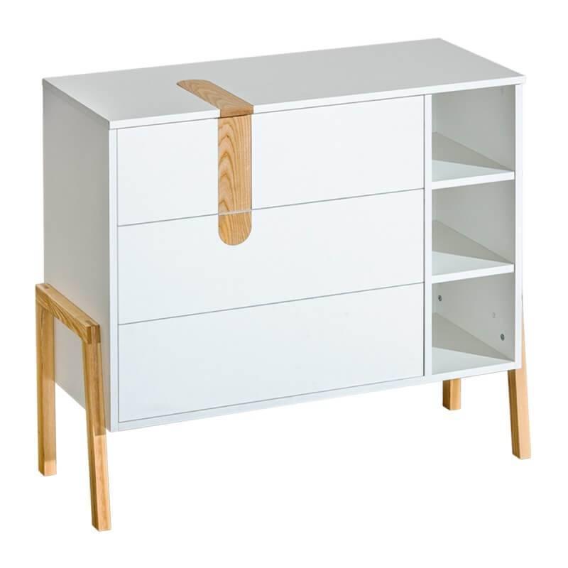 Petite Chambre Commode collection Yeti en bois. Pieds en frêne (finition U) et apparents   Blanc   Panneaux Stratifiés   petitechambre.fr