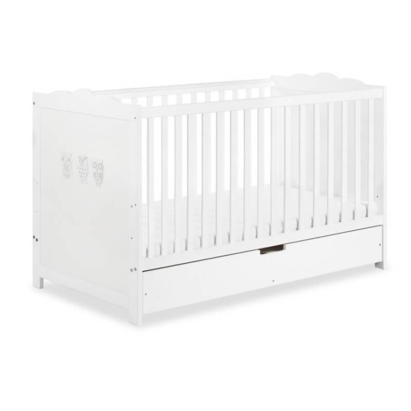 Petite Chambre Lit bébé évolutif avec tiroir Hibou   70 x 140   Blanc   Bois massif   petitechambre.fr