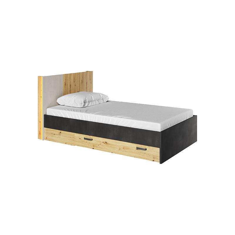 Petite Chambre Lit double adolescent 120x200 QUBIC avec tiroirs   120 cm x 200 cm   Chêne   Panneaux Stratifiés   petitechambre.fr