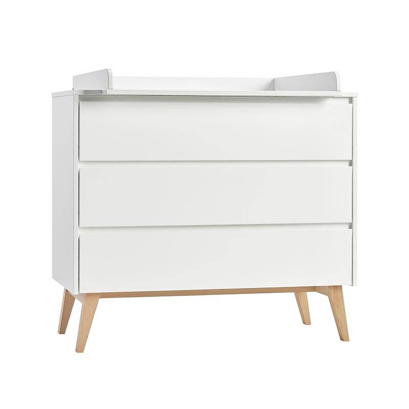 Pinio Commode à langer blanche 3 tiroirs SWING pour chambre bébé   Blanc   MDF, panneau stratifié et hêtre massif   petitechambre.fr