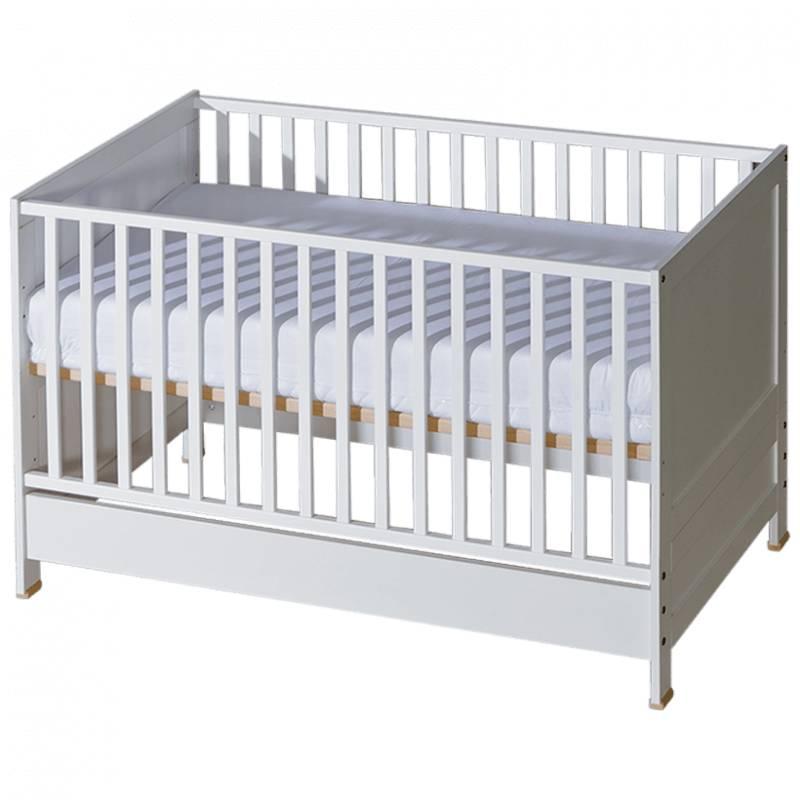Lit bébé évolutif Mélodie blanc ou bois - Blanc,Bouleau - H89 cm L142.5 cm l75.5 cm