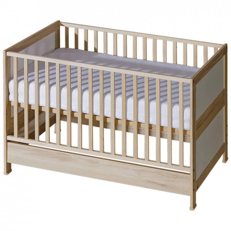 Lit bébé évolutif Mélodie blanc ou bois - Bouleau - H89 cm L142.5 cm l75.5 cm