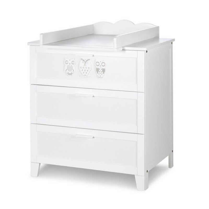 Petite Chambre Commode bébé Hibou blanche   Blanc   MDF et mélaminé   petitechambre.fr