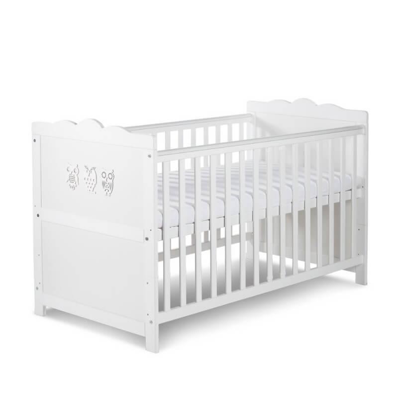 Petite Chambre Lit bébé évolutif Hibou blanc   70 x 140   Blanc   Bois massif   petitechambre.fr
