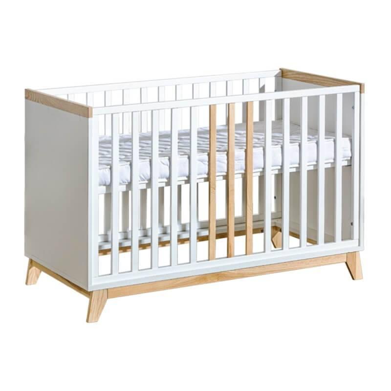 Petite Chambre Lit bébé 120 Nordik   60 cm x 120 cm   Blanc   Panneaux Stratifiés   petitechambre.fr