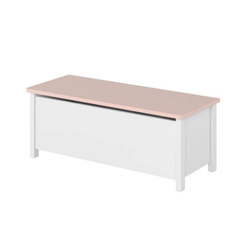 Petite Chambre Coffre à jouets blanc et rose LUNA   Blanc   Panneaux Stratifiés   petitechambre.fr