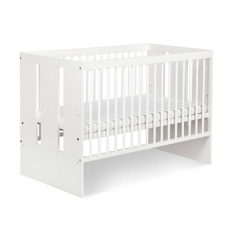 Petite Chambre Lit bébé à barreaux pas cher Paula   60 cm x 120 cm   Blanc   Bois massif   petitechambre.fr