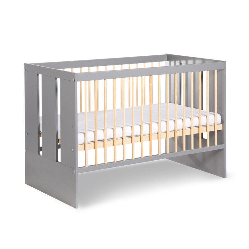 Petite Chambre Lit bébé à barreaux graphite pas cher Paula   60 cm x 120 cm   Graphite   Bois massif   petitechambre.fr