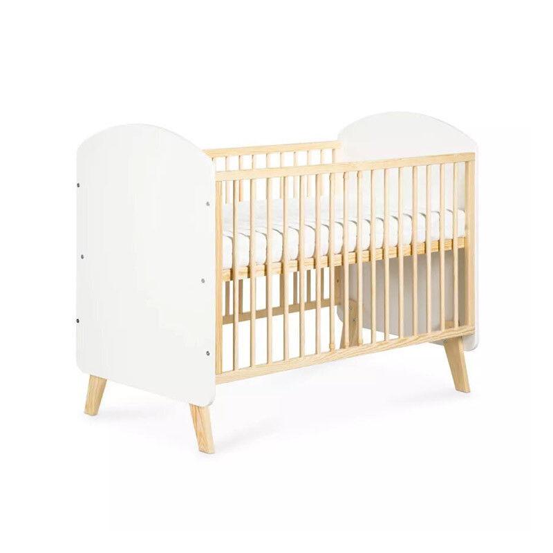 Petite Chambre Lit bébé à barreaux scandinave Charlie   60 cm x 120 cm   Blanc   Bois massif   petitechambre.fr