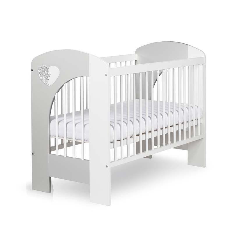 Petite Chambre Lit bébé blanc et gris Nel   60 cm x 120 cm   Couleur au choix   Bois massif   petitechambre.fr
