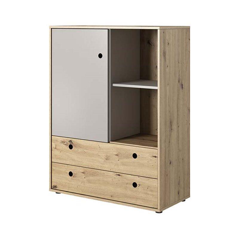 Petite Chambre Commode haute 2 tiroirs KUKO en chêne artisan et gris pour chambre ado   Chêne     petitechambre.fr