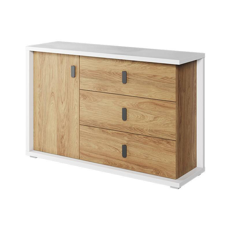 Petite Chambre Grande commode 3 tiroirs et 1 porte MASSI largeur 135 cm blanc et chêne hickory   Chêne hickory   Panneaux Stratifiés   petitechambre.fr