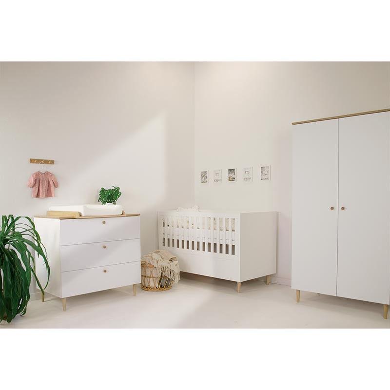 Pack chambre bébé SCANDI lit 140 + armoire + commode -