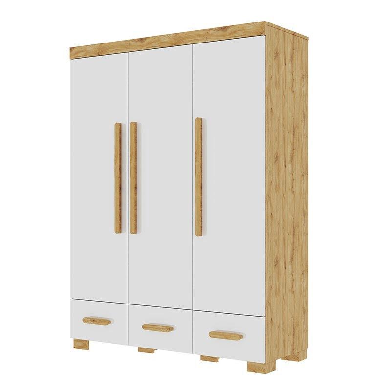 Pinio Armoire 3 portes OAKIE blanche et frêne pour chambre bébé et enfant   Blanc   bois de frêne massif, MDF, panneau stratifié   petitechambre.fr