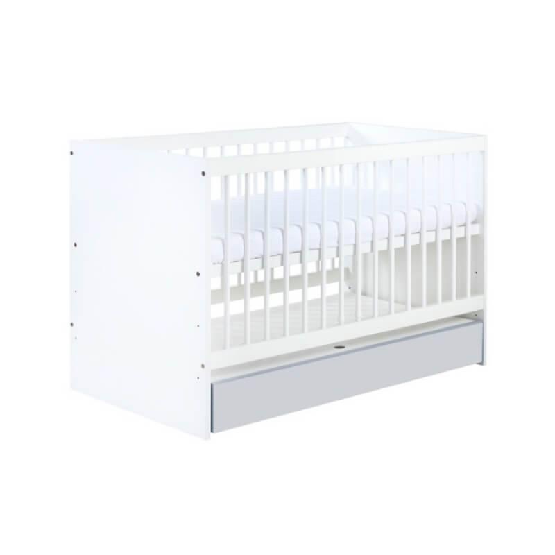 Petite Chambre Lit bébé blanc et gris Dalia   60 cm x 120 cm   Gris   Bois massif   petitechambre.fr