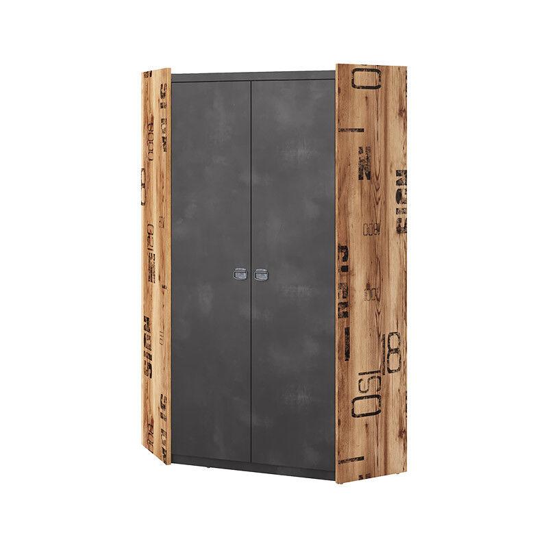 Armoire d'angle FARGO pour chambre industrielle - Graphite - H191 cm